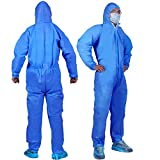 YIBER Disposable Protective Coverall Suit, Made of SMS Material, Excellent air permeability and water repellency - 1 PCS/PACK (XXXL, Blue)