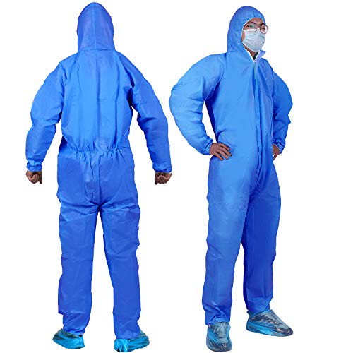 YIBER Disposable Protective Coverall Hazmat Suit, Heavy Duty Painters Coveralls, Made of SMS Material, Excellent air permeability and water repellency - 1 PCS/PACK (XXL, Blue)