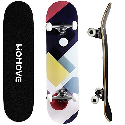 HOMOVE skateboard, tavola completa 31 x 8 pollici skateboard con doppio calcio, cuscinetti a sfera ABEC-7, longboard in legno d'acero a 7 strati per uomini e donne giovani bambini adulti di strada
