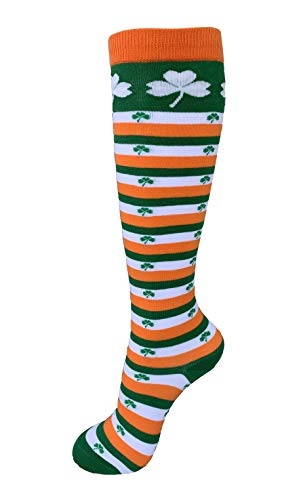 Women's, Toddler, Youth & Junior St. Patricks Day Shamrock Irish Striped Knee Socks