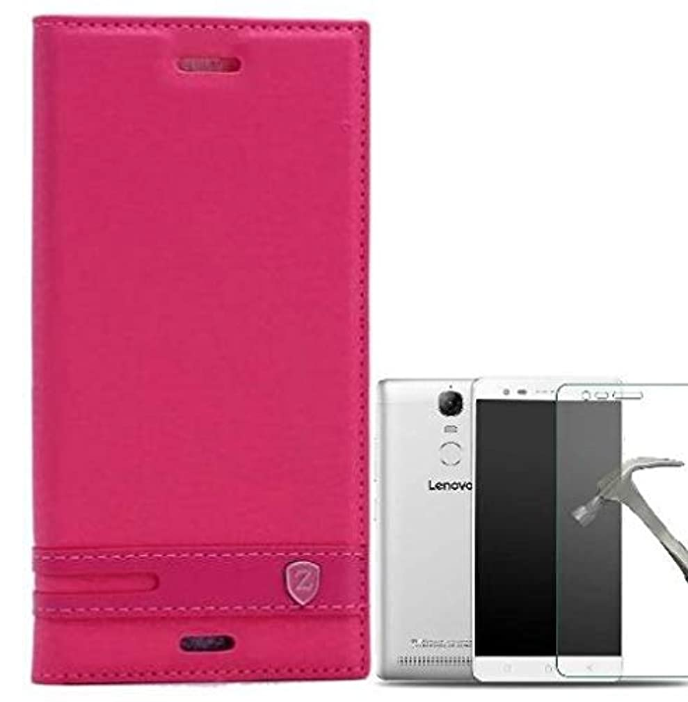 Teleplus for Lenovo K5 Note Magnet Lux Cover Case Pink + Glass Screen Protector