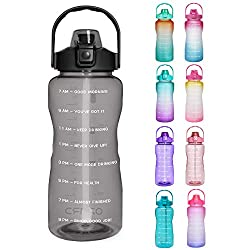 Opard 64 oz Water Bottle with Time Marker to Drink Half Gallon Motivational Water Bottle with Straw and Handle Large BPA Free Water Jug for Sports Gym Fitness