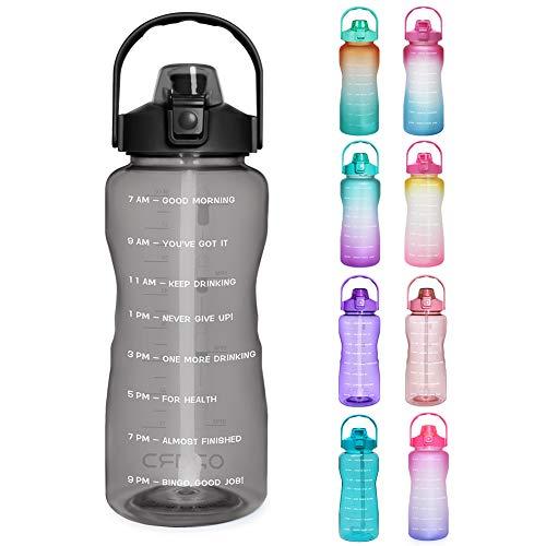Opard Trinkflasche, BPA Frei Wasserflasche mit Strohhalm, 1-klick Verschluss Auslaufsichere Water Bottle, Zeitmarkierung Sportflasche (Schwarz)