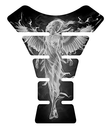 Angel Flaming Fire White 3d Gel Motorcycle Sportbike Gas Tankpad Motorcycle TanK pad Protector Guard Decal Sticker
