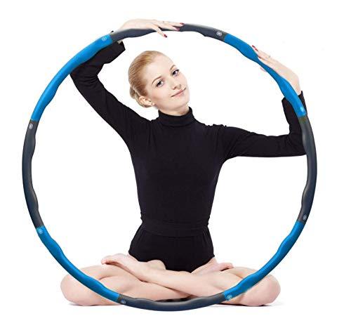 Laogg Hula Hoop zur Gewichtsreduktion,Reifen mit Schaumstoff ca 1.5 kg,Gewichten Einstellbar Breit 75-95 cm,Gewichten beschwerter Hula-Hoop-Reifen für Fitness(4 Knoten Blau + Grau)