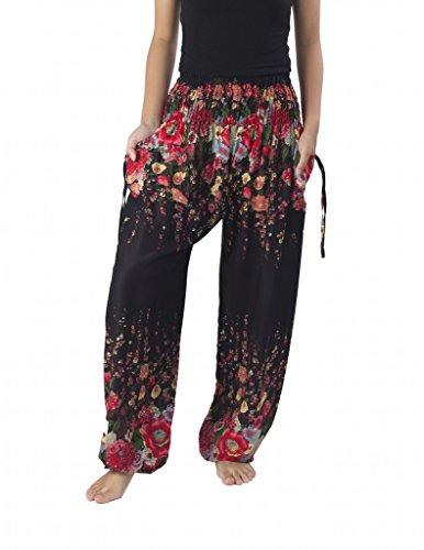 Lannaclothesdesign Women's Flowers Yoga Boho Pants Long Beach Summer Harem Pants (M, Black)