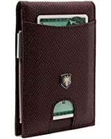 Chqel Men's Wallet with Money Clip Slim RFID Front Pocket Leather Wallets for Men