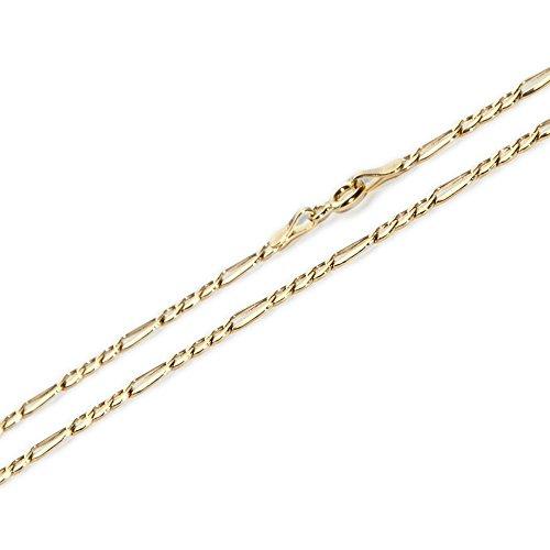 Alex-Super-Schmuck.de 585 Gold Figaro Kette 50cm Collier Figaro DIAMANTIERT KETTENBREITE 1.5MM