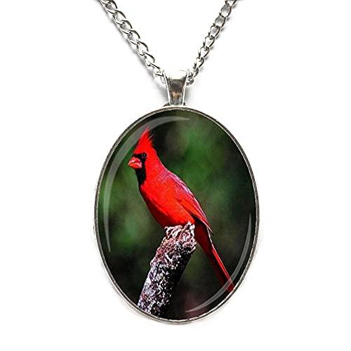 Collar cardenal hecho a mano con colgante de azulejos de cristal, collar conmemorativo JV135