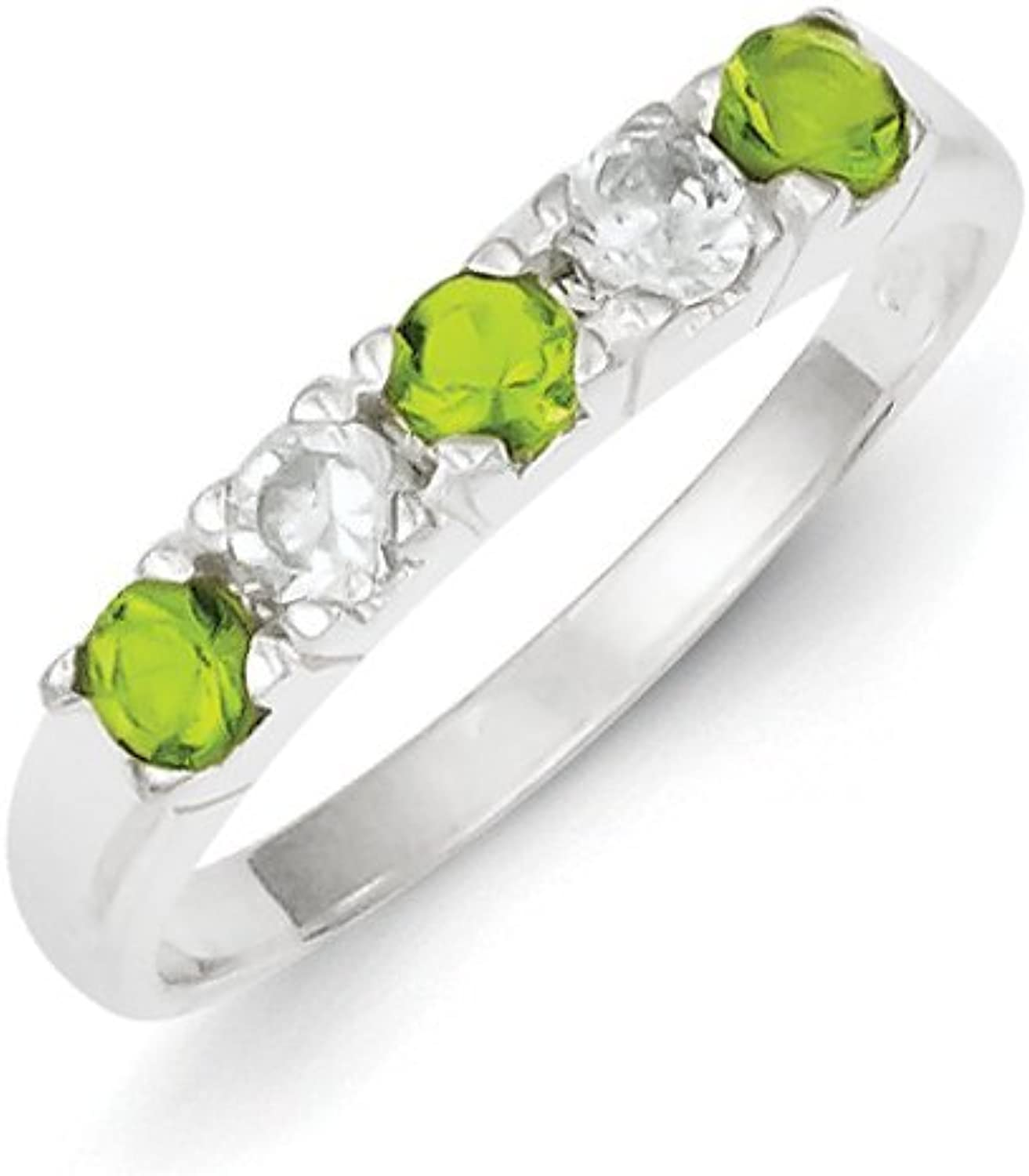 gold and Watches Sterling Silver Lime Green & White CZ Ring