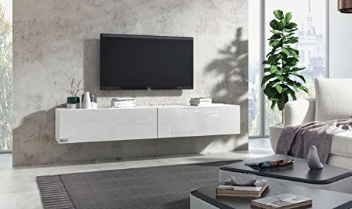 Wuun® TV Board hängend/8 Größen/5 Farben/100cm Matt Weiß- Weiß-Hochglanz/Lowboard Hängeschrank Hängeboard Wohnwand/Hochglanz & Naturtöne/Somero