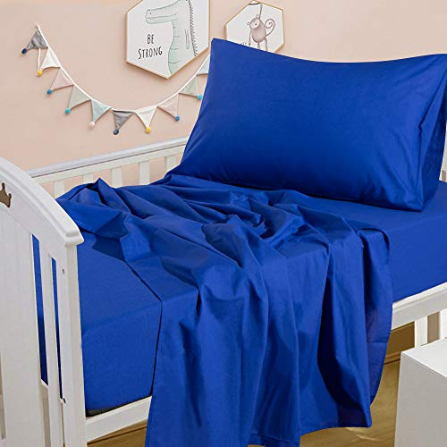 NTBAY 3-Piece Washed Cotton Toddler Sheet Set, Solid Color Crib Fitted Sheet Flat Sheet and Envelope Pillowcase, Baby Bedding Sheet & Pillowcase Sets, Royal Blue