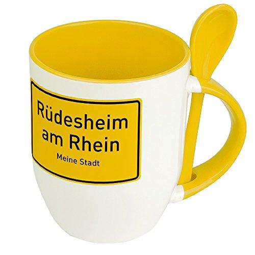 Städtetasse Rüdesheim am Rhein - Löffel-Tasse mit Motiv Ortsschild - Becher, Kaffeetasse, Kaffeebecher, Mug - Gelb