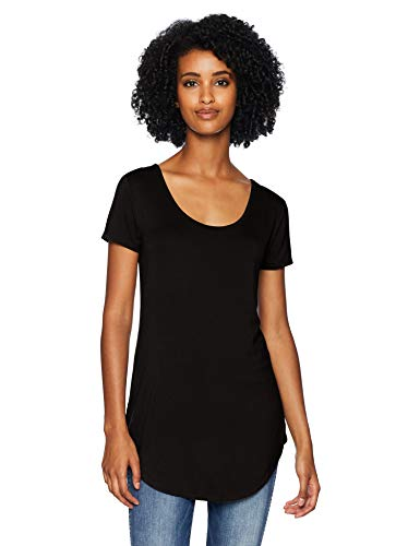 Daily Ritual Jersey Short-Sleeve Scoop-Neck Longline novelty-t-shirts, schwarz, US S (EU S - M)