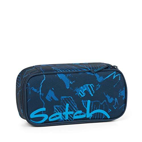 Satch Schlamperbox Blue Compass, Mäppchen mit extra viel Platz, Trennfach, Geodreieck, Blau