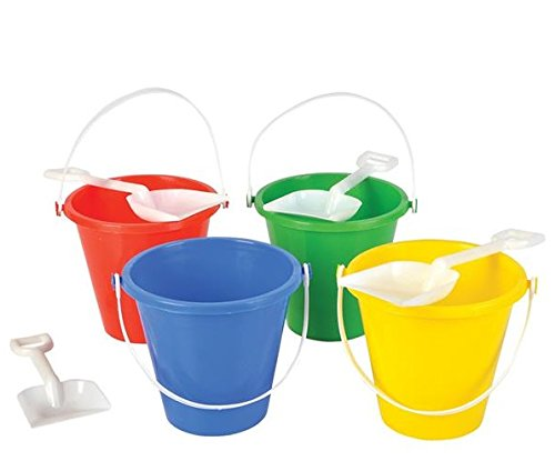 "Neliblu Beach Sand Pails Shovels Pool Party Toys 5.5"" Bulk Party Set Play Sand Buckets (1 Dozen Sets)"