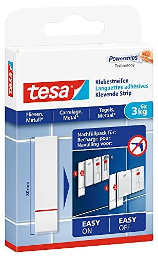 tesa Powerstrips Klebestreifen für Fliesen und Metall 3 kg - Doppelseitige Streifen für feste, glatte Flächen - Bis zu 3 kg Halteleistung pro Streifen - 6 Stück