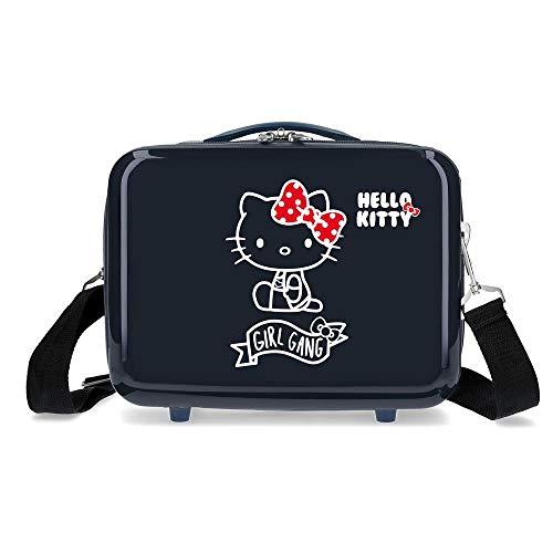 Hello Kitty Girl Gang Hello Kitty Borsa da Toilette Adattabile in ABS, 29 cm, Blu Scuro
