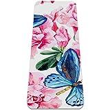 Esterilla de yoga con diseño de mariposa azul rosa con diseño de mariposa ecológica de 6 mm, antideslizante, para mujeres y hombres, niñas, extra grande para deportes en el hogar