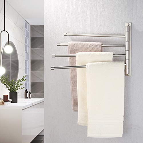 KES Swivel Towel Bar SUS 304 Stainless Steel 4-Arm Bathroom Swing Hanger Towel Rack Holder Storage Organizer Space Saving Wall Mount Brushed Finish, A2102S4-2