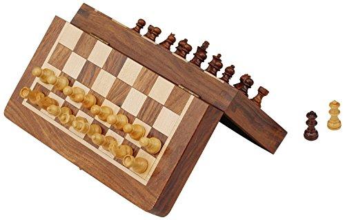 Schachspiel Ultimatives 17.78x17.78 cm Klassisches Holz Reise Schach mit Magnet Staunton Figuren und klappbares Spielbrett - Handgefertigt von Handwerkern in feines Rosenholz mit einem Walnuss-Finish
