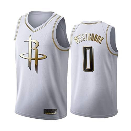 LSJ-ZZ Jersey Men's NBA Houston Rockets # 0 Westbrook Black/White-Gold Jersey Bordado, Unisex Fan de Baloncesto Sin Mangas Capacitación Deportiva Chaleco,Blanco,S