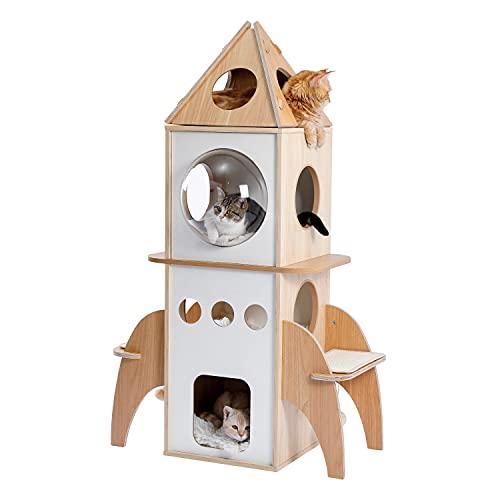 Amazon Brand – Umi Albero per gatti in legno a forma di razzo Torre da gioco per gatti Casetta per gatti in legno a più livelli Centro attività per gatti di grandi dimensioni Condominio 138 cm beige