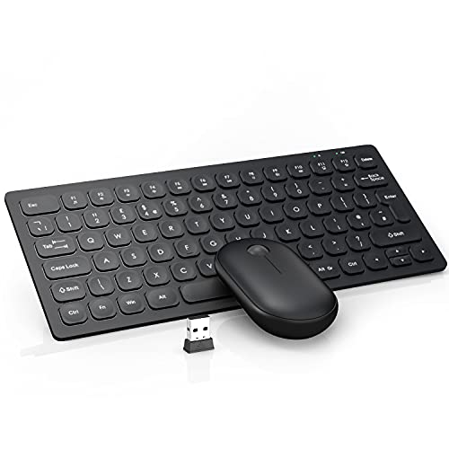 Wireless Keyboard and Mouse, WisFox 2.4GHz Compact Keyboard Mouse Combo, Small Quiet USB Laptop Keyboard Portable Mini Wireless Keyboard for Computer Window PC Notebook (Black)