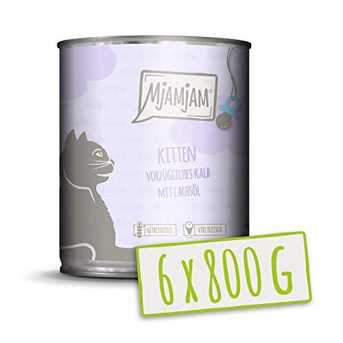 MjAMjAM Kitten vorzügliches Kalb mit Lachsöl 6x800 g, 1er Pack (1 x 4800 g)