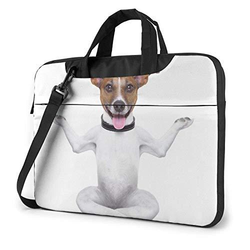 Bolso de Hombro Impreso Perro del Ordenador portátil de la Yoga, Cartera del Bolso de Mensajero del Negocio del Bolso de la Caja del Ordenador portátil