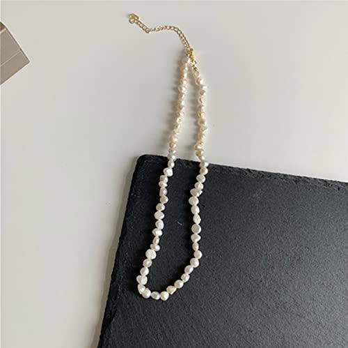 Collar Joyas Joyería De Perlas Irregulares Vintage Chapado En Oro Cadena De Eslabones Gruesos Collares En Capas para Mujeres Collar De Perlas para Muj