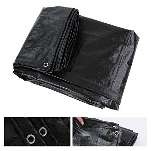 CLIOY PE-afdekzeil voor vrachtwagens, industriële zeil, waterdicht, afdekzeil, 200 g/m2, bootzeil, zwembadzeil, zwart