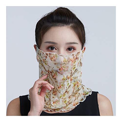 QXX El Velo de Seda Mujer con Capucha Orejeras Bufanda de Seda Tejido Facial Boca Malla de protección Solar (Color : D)
