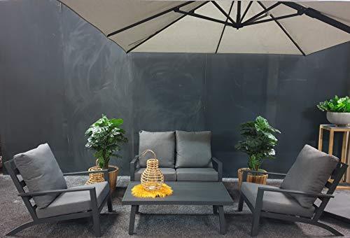 Atlantis Tuinstoel, 1 x bank voor 2 personen, 2 x tuinstoel, 1 x aluminium tafel, 8 x kussens, aluminium loungeset, tuinloungeset