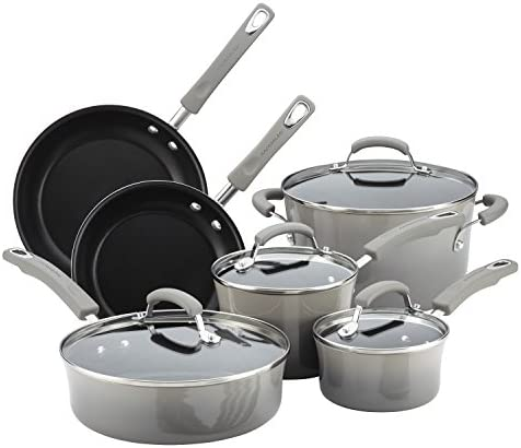 Rachael Ray Brights Nonstick Cookware Pots and Pans Set Sea Salt Gray product image