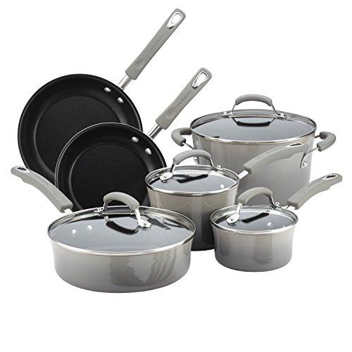Rachael Ray Brights Nonstick Cookware Pots and Pans Set, Sea -Salt Gray