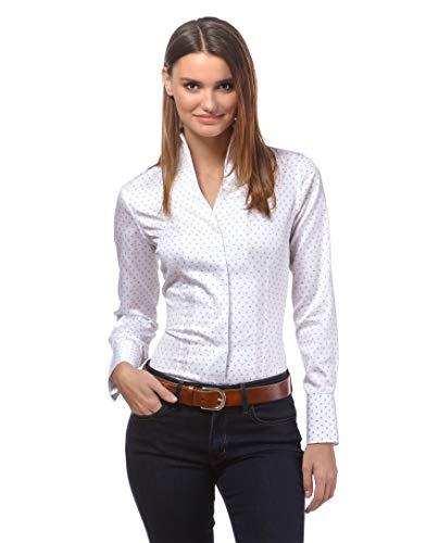 Vincenzo Boretti Damen Bluse mit Kelchkragen leicht tailliert 100% Baumwolle bügelleicht Langarm Hemdbluse mit Stehkragen elegant festlich auch für Business weiß/blau 36