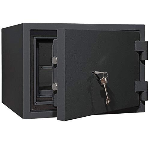 SafeHero Feuerschutztresor Klasse 1 + 60 Min. Brandschutz - Secureo Raptor | Schlüsselschloss | passend für DIN A4-Ordner | 3-Fach Schutz vor Einbruch, Feuer & Löschwasser (Raptor 1 H345xB480xT460)