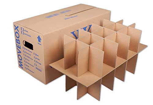 KK Verpackungen® Gläserkartons mit 15-30 Fächern | 5 Stück, Geschirr- & Flaschenkartons für den Umzug | 2-wellige Umzugskartons Kisten