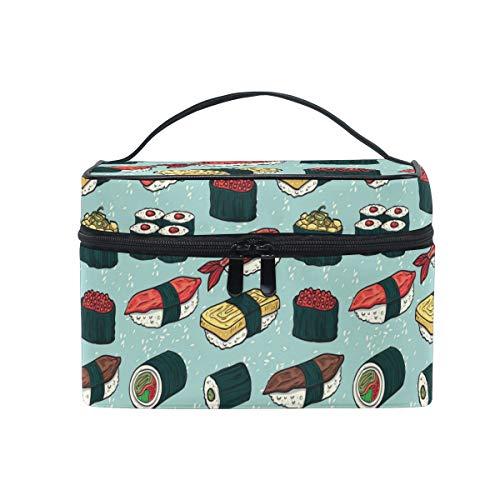 HaJie - Bolsa de maquillaje de gran capacidad con estampado de sushi japonés, para viaje, portátil, neceser, bolsa de almacenamiento, bolsa de lavado para mujeres y niñas