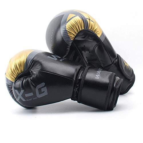 DJLHNHIGH Quality Adultos Mujeres/Hombres Guantes de Boxeo Cuero MMA Muay Thai Boxe De Luva Mitts Sanda Equipment8 10 12 6OZ - Negro, 10 OZ
