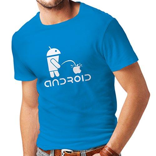 Camisetas Hombre el Divertido Robot y la Manzana - Citas Divertidas, Regalos humorísticos (Small Azul Blanco)
