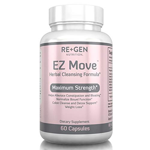 EZ Move Constipation Relief, Cleanse for Weight Loss Support, Detox and Colon Cleanse, Cascara Sagrada, Senna Leaf, All Natural 60 Capsules