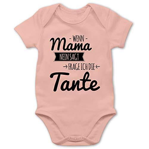 Shirtracer Sprüche Baby - Wenn Mama Nein SAGT frag ich die Tante - 1/3 Monate - Babyrosa - Baby 2 Monate - BZ10 - Baby Body Kurzarm für Jungen und Mädchen