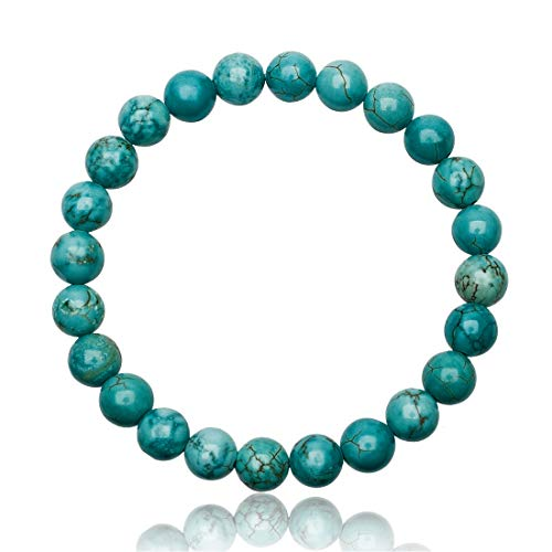 Unique Pulsera de Perlas para la Mujer Turquesa 8mm Grado AAA Banda elástico One Size Fits All 16cm para 20cm
