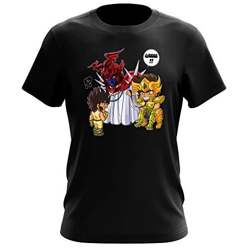 Okiwoki T-Shirt Noir Saint Seiya parodique Aiolia Chevalier d'or du Lion et Seiya de Pégase : Les Rues du Sanctuaire de Plus en Plus Mal fréquentées. (Parodie Saint Seiya)