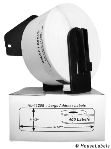 "24 Rolls; 400 Labels per Roll of HouseLabels Compatible with Brother DK-1208 Large Address Labels with ONE (1) Reusable Cartridge (1-1/2"" x 3-1/2""; 38mm90mm) - BPA Free!"