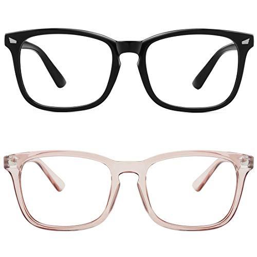 MEETSUN Blue Light Blocking Glasses, Anti Eye Strain Headache (Sleep Better),Computer Reading Glasses UV400 Transparent Lens (Black + coffee frame...