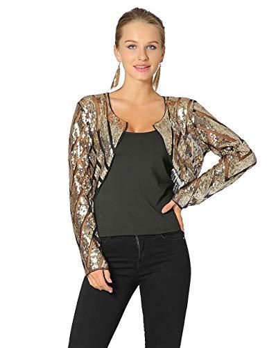Radtengle Women's Sequin Shrug Long Sleeve Glitter Cape Cropped Bolero Blazer Cardigan Black Gold,XX-Large,US 16