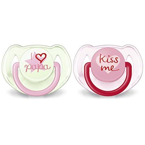 Philips Avent SCF172/72 Succhietti Love Papà e Kiss Rosa, Tettarelle Ortodontiche, Senza BPA (6-18 Mesi) - 2 Pezzi